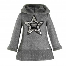Vestido punto gris estrella tull