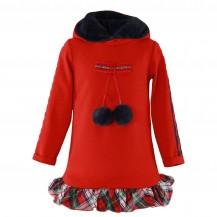 Vestido rojo pompones y cuadros