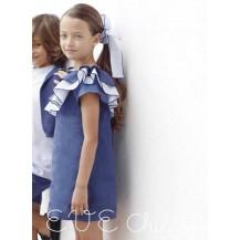Vestido azul volante rayas un hombro