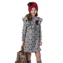 Vestido niña plumeti gris y rojo