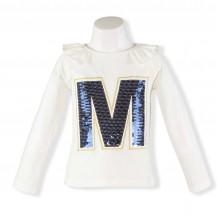 Camiseta blanco roto M lentejuelas azul