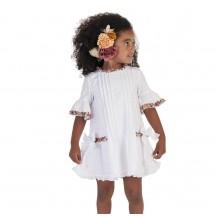 Vestido plumeti blanco rayas colores