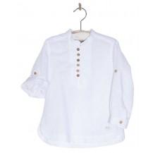 Camisa blanca botones madera