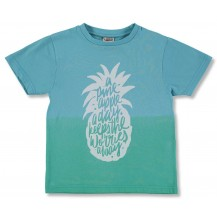 Camiseta manga corta turquesa y verde piñas