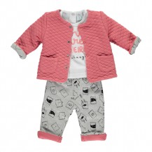 Conjunto pantalón + camiseta + chaqueta frambuesa y gris