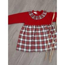 Vestido combinado tartan rojo