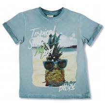 Camiseta manga corta azul piña