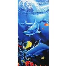 Toalla azul dos delfines