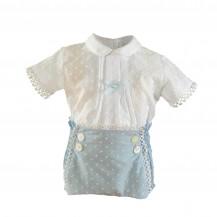 Conjunto braguita plumeti celeste + blusa blanca