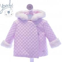 Abrigo guateado rosa pelo