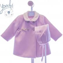 Abrigo + capota rosa empolvado lazos camel