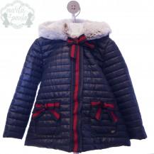 Abrigo capucha marino lazos rojos