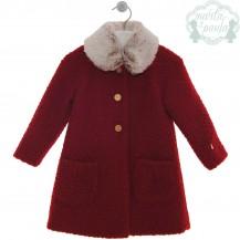 Abrigo rojo lana rizada cuello pelo
