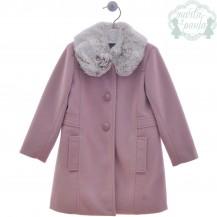 Abrigo paño rosa empolvado cuello pelo