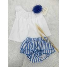 Conjunto braguita rayas azulón + camiseta puntilla
