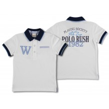 "Polo m/c blanco cuello marino ""windsor"""
