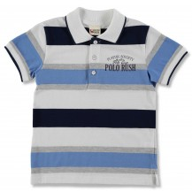 "Polo m/c ""windsor"" rayas blanco, azul y gris"