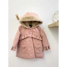 Abrigo rosa empolvado capucha forrado pelo