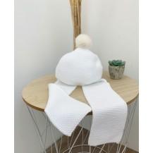 Gorro con bufanda liso blanco