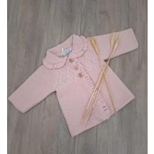 Abrigo punto volante rosa palo