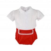 Conjunto blusa + braguita blanco y rojo puntilla