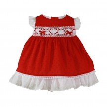 Vestido plumeti rojo puntilla blanca