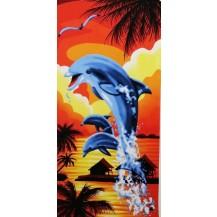 Toalla de playa delfin naranja