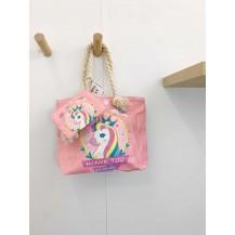 Bolso unicornio rosa + monedero