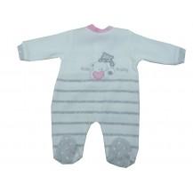 Pijama terciopelo bebé blanco, gris y rosa ositos