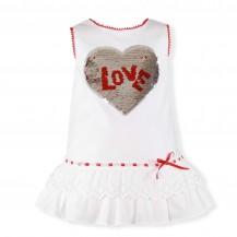 Vestido blanco corazón rojo lentejuelas