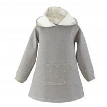 Vestido gris strass blancos