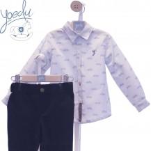 Conjunto camisa celeste motos + pantalón marino