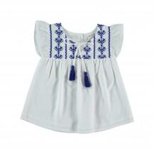 Blusa goa blanca y azulón
