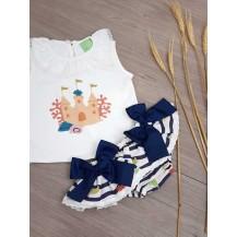 Conjunto camiseta + braguita fondo marino