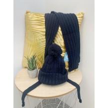 Conjunto dos piezas gorro + bufanda ochos marino