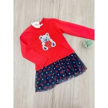 Vestido rojo y marino oso