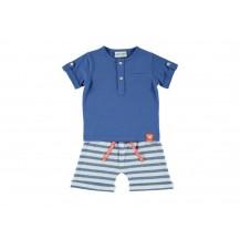 Conjunto bermuda rayas y camiseta azul