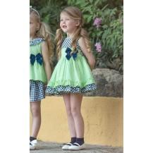 Vestido verde lima vichy marino