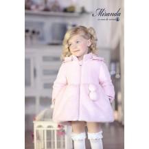 Abrigo rosa combinado pelo