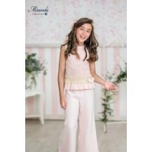 Conjunto palazo rosa + blusa bordada