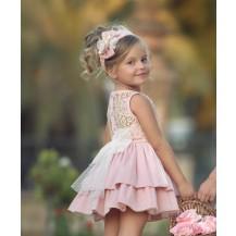 Vestido rosa palo bordado camel