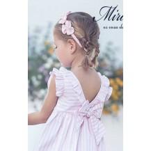 Vestido infantil rayas rosa y blanco