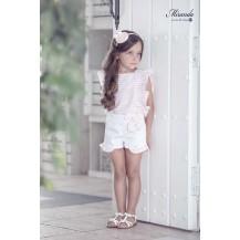 Conjunto short blanco y blusa rayas rosa