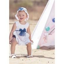 Vestido + gorro blanco brocado tull azul