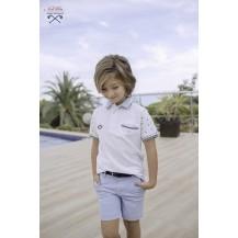 Pantalón corto niño celeste