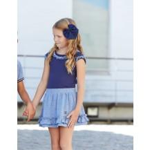 Falda azul puntos marino