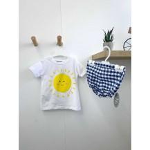 Conjunto bombacho vichy azulón y camiseta sol