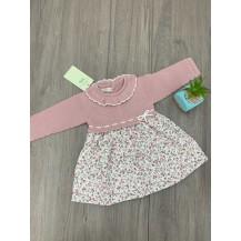 Vestido  combinado liberty rosa palo