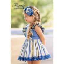 Vestido rayas azulón y amarillo