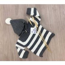 Jersey rayas capucha gris y crudo
